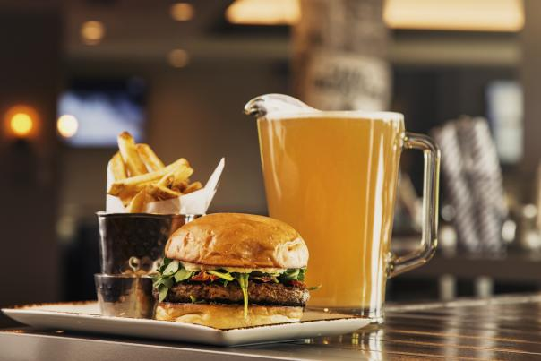 Burger, Fries and Beer at Phoenician Tavern in Phoenix, AZ