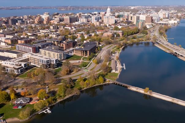An aerial view of downtown Madison and the isthmus