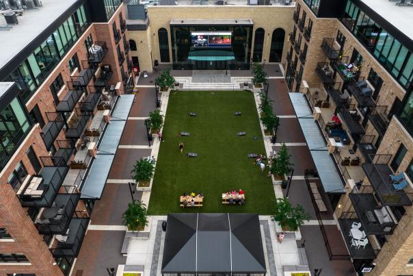 Aerial Top View of Studio Park, 2021.