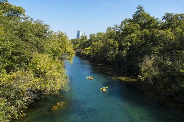 Kayaking through the Barton Creek Greenbelt. Credit Visit Austin_Exp 9-30-19