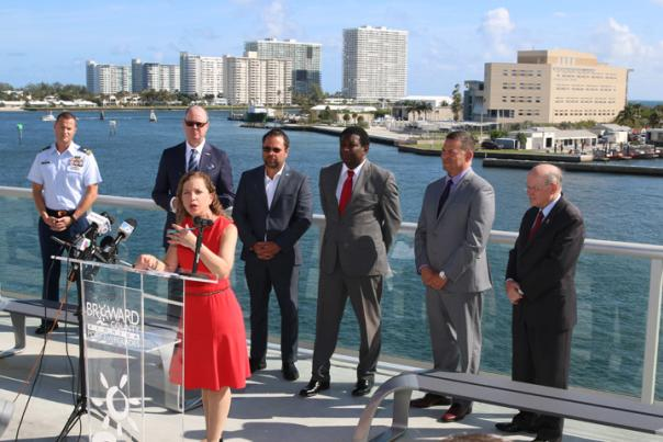 Rep. Debbie Wasserman Schultz and dignitaries at Port Everglades press conference