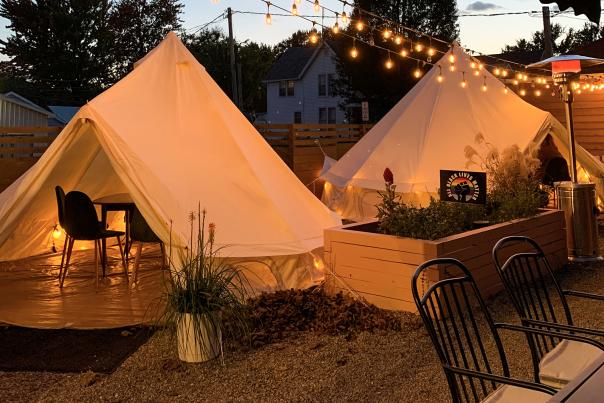 Bird and Cleaver outdoor yurts and heated patio
