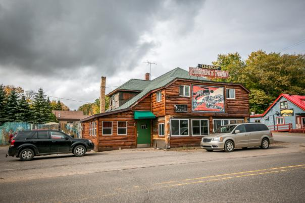 The exterior of the notorious Lumber Jack Tavern in Big Bay, MI