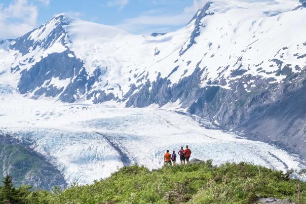 Portage Glacier view from Portage Pass Hiking Trail. Portage is one of 60 glaciers within 50 miles of Anchorage, Alaska.
