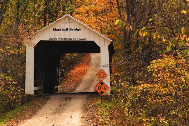 Marshall Bridge in Parke County, Indiana. (Credit: Greg Matchick / coveredbridges.org)