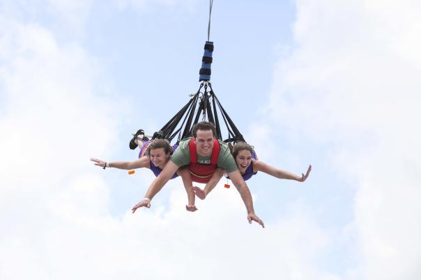 Fun Spot America people on a bungee jump
