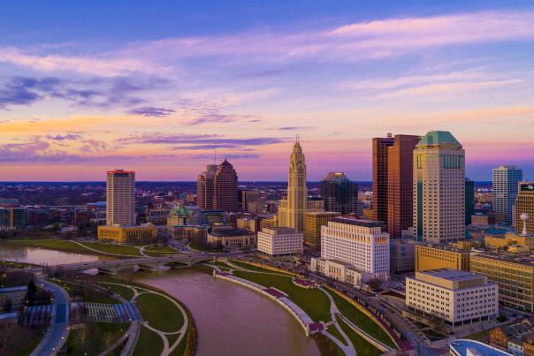 Columbus Downtown Skyline at sunset