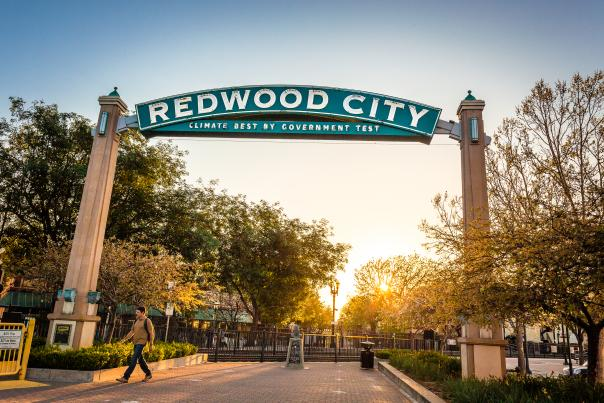 Redwood-City-Arch-during-the-sunset