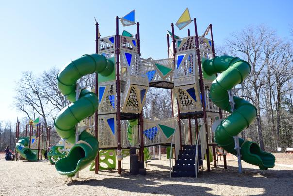 Downs park playground's spiral slide