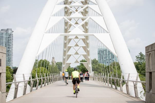 The Humber Bay Arch Bridge is a pedestrian and bicycle arch bridge south of Lake Shore Boulevard West in Toronto
