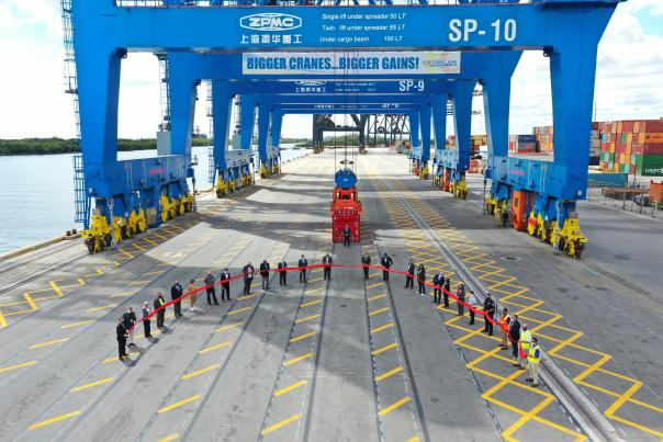 Port Everglades commissioned its three new Super Post-Panamax Gantry Cranes on March 22, 2021.