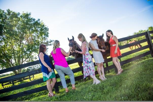 Ladies on a horse farm