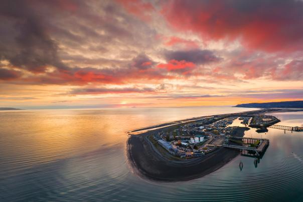 Panorama of Homer harbor at sunset