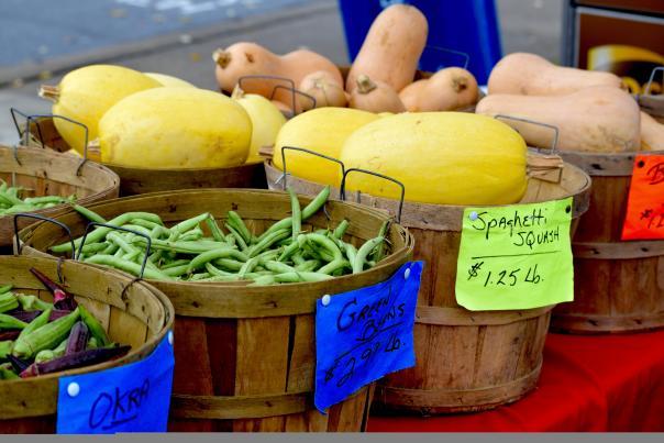 summer vegetables at an open air market