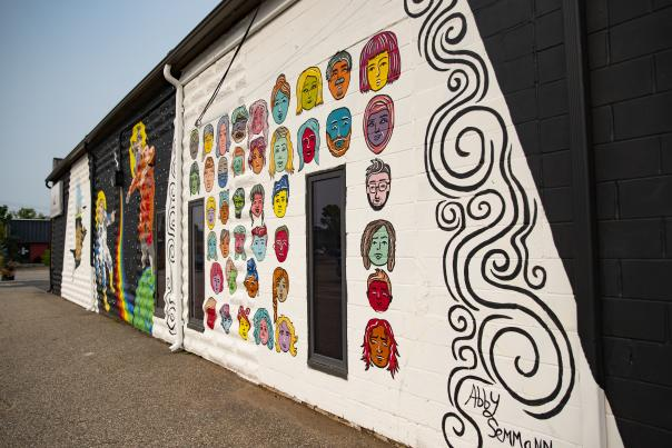 Color Block Murals with Faces, Outspace and bird