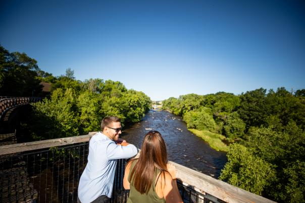 Couple overlooking views at S-Bridge