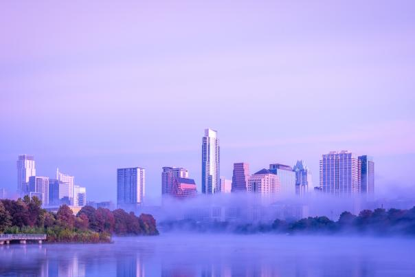Downtown Austin and Lady Bird Lake in morning fog. Credit Victor Mata.