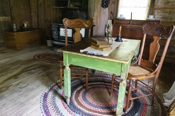 inside the teachers house at Historic Collinsville