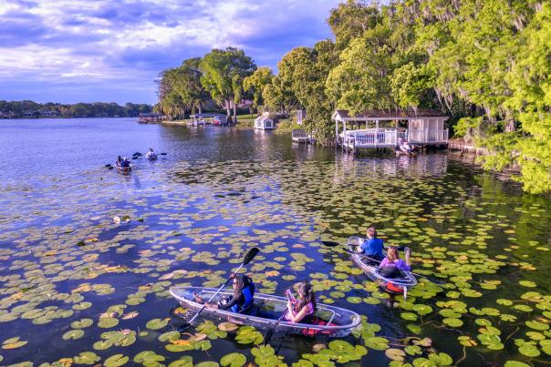 Kayaks on a lake in Winter Park