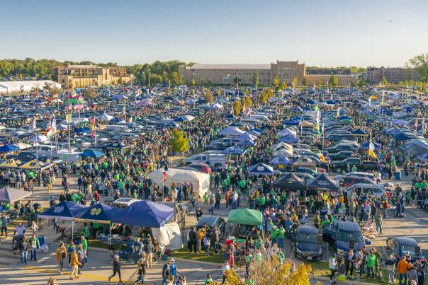 Wideshot of tailgating at The University of Notre Dame
