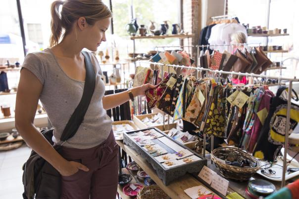 Shopping at Tangled Up in Hue in downtown Eau Claire