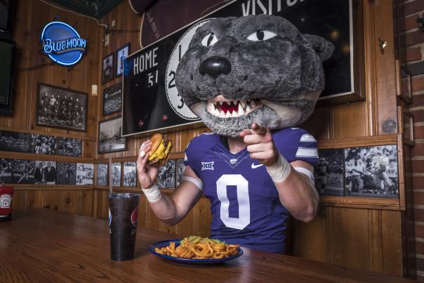 Willie enjoys a burger