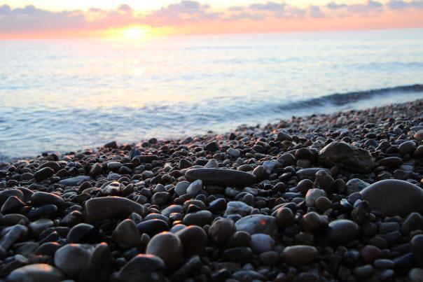Lake Michigan Pebbles at Sunrise