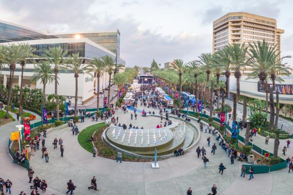 Aerial view of the Grand Plaza at the Anaheim Convention Center
