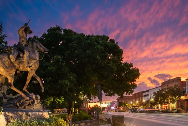 Downtown square at sunset