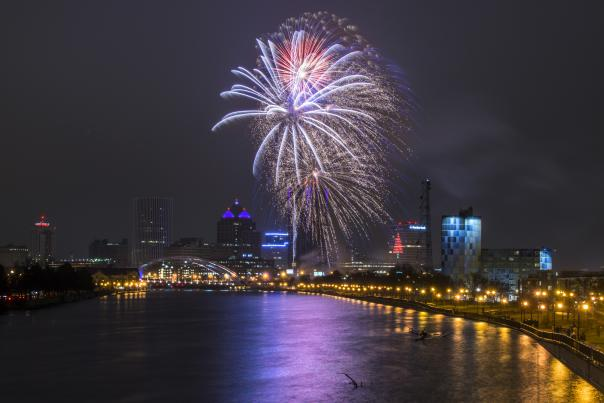 Fireworks Over the Genesee River in Downtown Rochester
