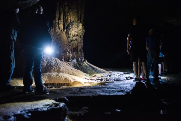 Tour group inside Dunbar Cave