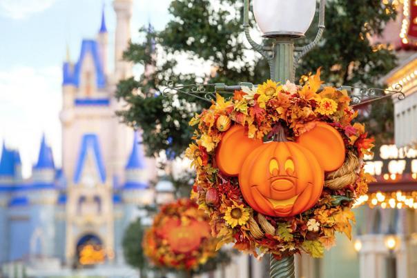 A Mickey Mouse shaped pumpkin decoration at Magic Kingdom.