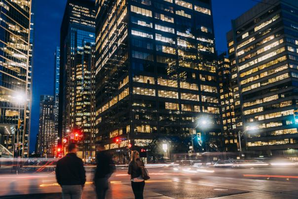 King street west and Toronto's financial district buildings at night
