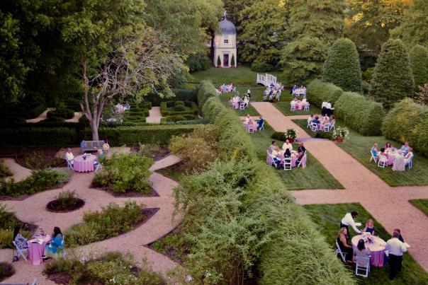 Aerial view of William Paca Garden's al fresco dinner party