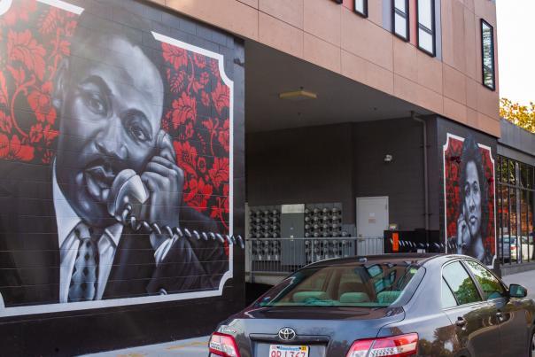 Mural in Roxbury Depicting MLK Speaking on a Phone