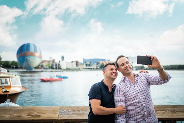 Men taking a selfie at The Boathouse at Disney Springs