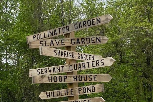 Signage points to the different areas at Goshen Farm