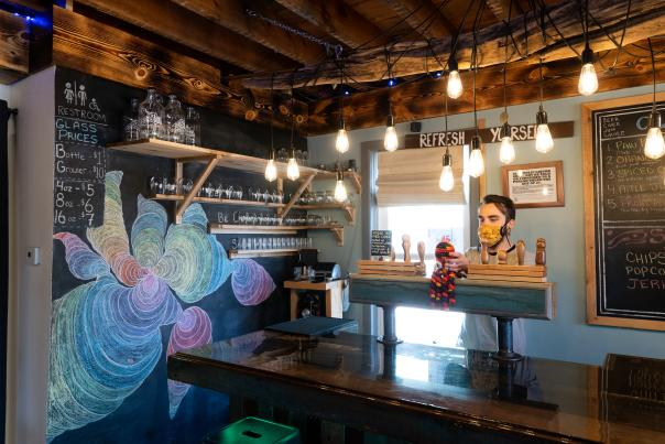 The funky interior of Superior Culture kombucha bar.
