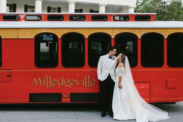 Married Couple in Front of Milledgeville Trolley