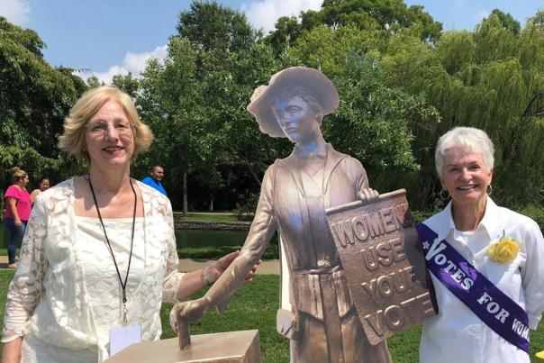 TN Triumph committee members with a cardboard replica of the suffrage statue