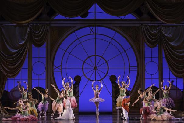 "Ballerinas in costume on stage performing BalletMet's annual holiday show ""The Nutcracker"""