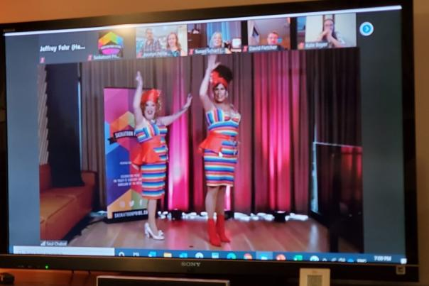 Two drag queens on TV