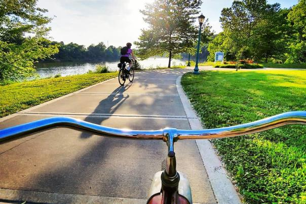 Cycling along the Cumberland Riverwalk