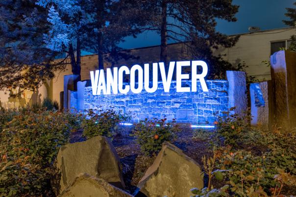 Vancouver Gateway sign lit up purple