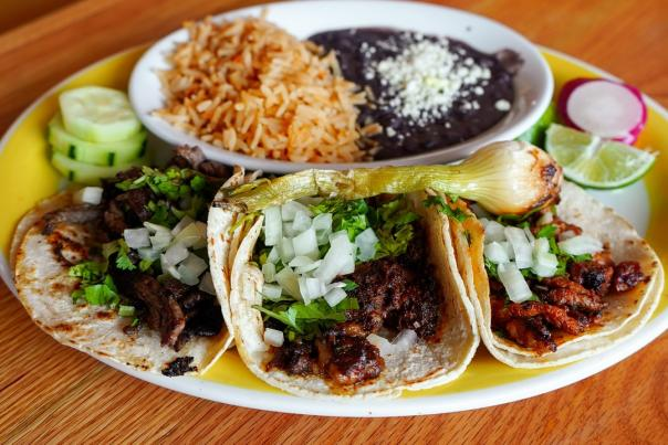 Soft Tacos with rice and beans at Senor's Chile in Edgewater, MD.
