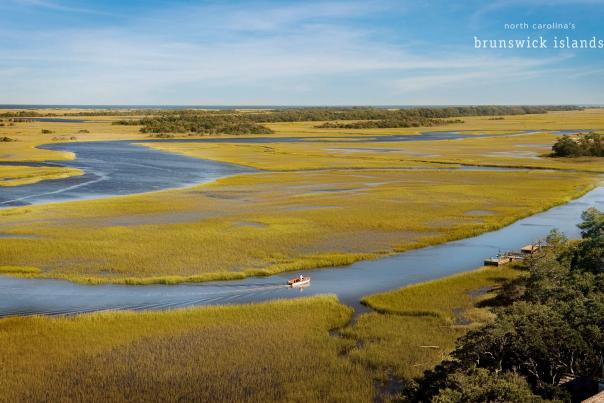 Marsh view of Bald Bald Head Island, North Carolina