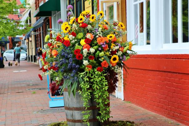 May Day Display outside Harvest Wood Grill + Tap in Annapolis, MD. Photo from Sue Steinbrook