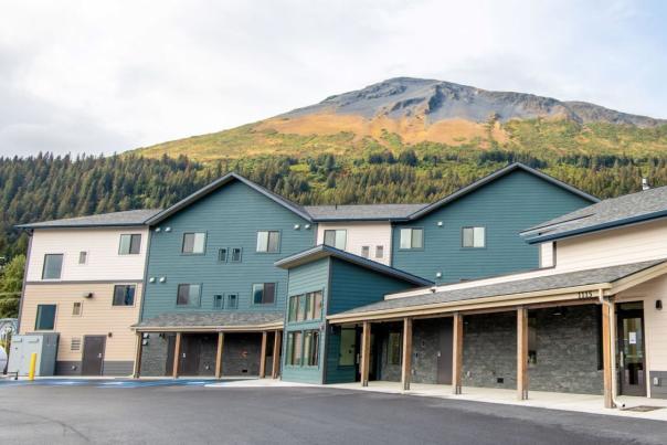 Hotel in front of Mt. Marathon