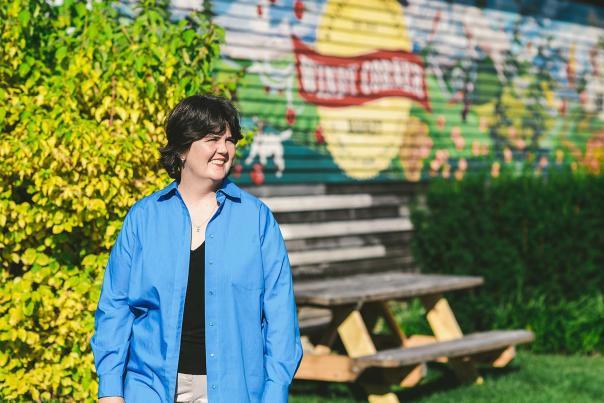 Ouita Michel in front of Windy Corner