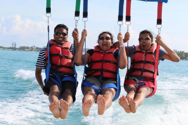 Parasailing with friends at Z Flight watersports